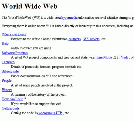 Le site web du consortium du World Wide Web (1992)